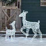Lights4fun Cierva y Cervato Luminosos de Navidad Acrílicos con 300 LED Blancos para Exteriores
