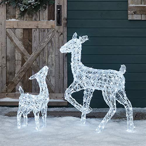 Lights4fun Cerva e Cerbiatto Luminosi di Natale Acrilici con LED Bianchi per Uso in Esterni