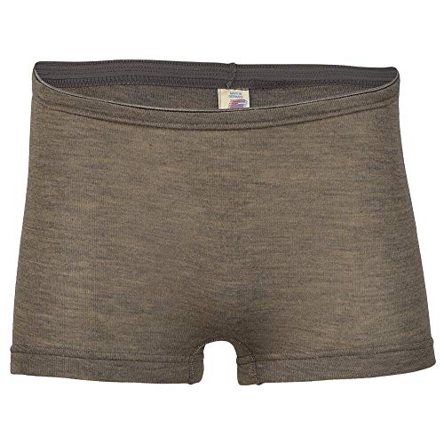 Women's Thermal Underwear: Moisture Wicking Merino Wool Silk Boy Shorts (EU 38-40 | Small, Walnut)