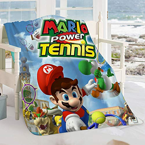 Semzuxvvo Mario Power Tennis Warm Flauschig Plüsch Hypoallergen Decke Mario Power Tennis Film Charaktere Leichte Super Weiche Decke All Season Warm Super Soft 130 x 100 cm