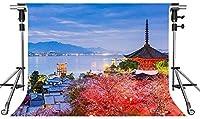 HD日本の風景の背景レトロな建物の桜の写真の背景7x5ftをテーマにしたパーティーの写真ブースYouTubeの背景PMT544