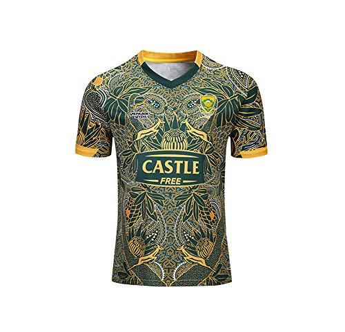 WYNBB 2019-20 Rugby Jersey Rugby-Trikot South Africa 100th Anniversary Edition für Männer Kurzarm-Freizeit-T-Shirt-Trainingsanzüge,Yellow,XL/180-185CM
