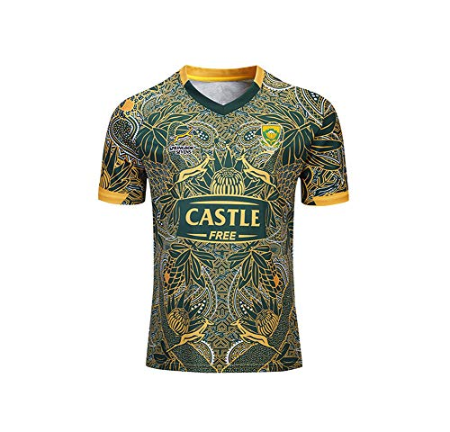 WYNBB 2019-20 Rugby Jersey Rugby-Trikot South Africa 100th Anniversary Edition für Männer Kurzarm-Freizeit-T-Shirt-Trainingsanzüge,Yellow,2XL/185-190CM