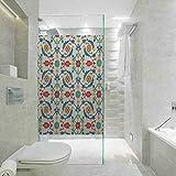 DIY Decoración del hogar Pegatinas de vidrio para ventana, motivo de arte nostálgico marroquí con adornos florales con película barroca para el hogar Tint, control de calor, 59,6 x 199,9 cm