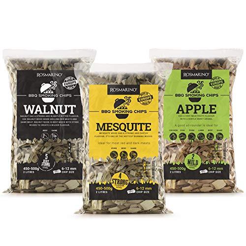 ROSMARINO Räucherchips Apfel, Mesquite & Walnuss   100% Natürlich Holzchips   25 Grillrezepte eBook Inklusive   für Kugel-, Stand- & Gasgrill (3 Pakete, für Weißes Fleisch)