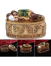 QKFON Retro pudełko do przechowywania chrześcijańska szkatułka na biżuterię ze św. Józefa statuetka na pokrywie żywica religijna dekoracja do przechowywania pierścionek kolczyk prezent dla rodziny i przyjaciół 12 * 7,5 * 8 cm
