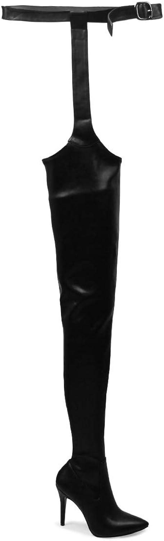 Rihanna över Knee stövlar Sexiga Garter Garter Garter Chaps Suspenter PU läder Combat hög klack Point Toe Winter Long Thigh höga stövlar med Zipper.  designer online