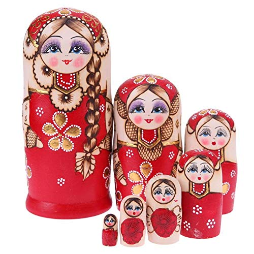 Matroschka Für Kinder, 7Pcs Babuschka Verschachtelung Matroschka Holz Hündchen Russian Nesting Dolls Kinder Spielzeug Geschenk In Tier-Form