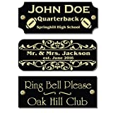 1' H x 2.5' W, Custom Engraved Solid Metal Name Plates, Gloss Black Colors, Nameplate Memorial, Made in USA (Gloss Black)