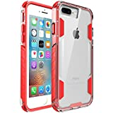 zisure iPhone 8 Plus Case,iPhone 7 Plus Case, [Rock Sugar] Heavy Duty Crystal Solid Clear Case Durable Shatterproof Sports Cover for iPhone 8 Plus/iPhone 7 Plus 5.5 inch (Red)
