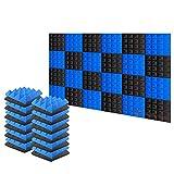 Arrowzoom 24 Panels absorción de sonido Pirámide Espuma acústica Absorcion aislamiento acustico auto extinguible 25x25x5cm Negro & Azul