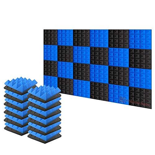 Arrowzoom 24 Akkustik Platten Akustikschaumstoff Fliesen Dämmung Wanddeko Pyramiden Noppenschaumstoff Breitbandabsorber Decke Foam Feuerhemmend 25x25x5cm Blau Schwarz