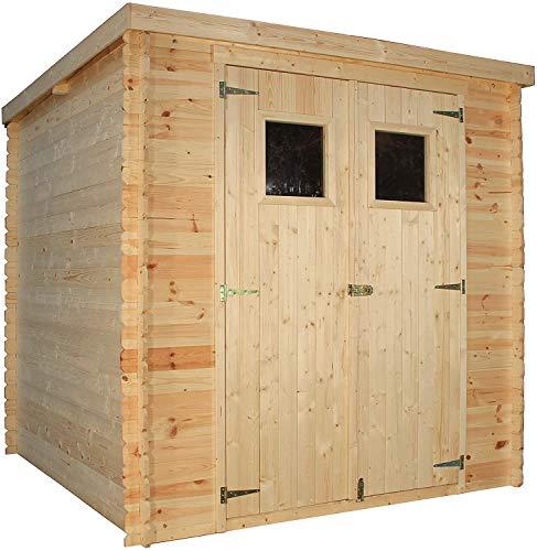TIMBELA Holzhaus Gartenhaus M309+M309G - Gartenschuppen Holz mit Boden Imprägnierte B204xL204xH202 cm/ 3.53 m2 Lagerschuppen für Garten - Fahrrad Schuppen - Wasserfestes Dach