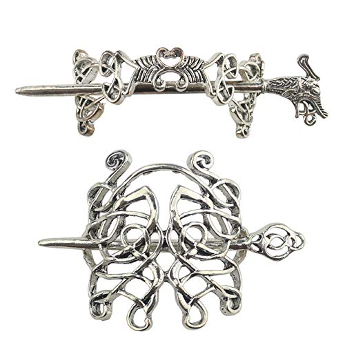Tinsow 2 Pcs Silver Celtic Dragon Hair Slide Hairpins Hair Accessories Hair Clips, Creative Hair Barrette Minimalist Hair Claw Hair Pin Hair Accessories for Women (Style T R)