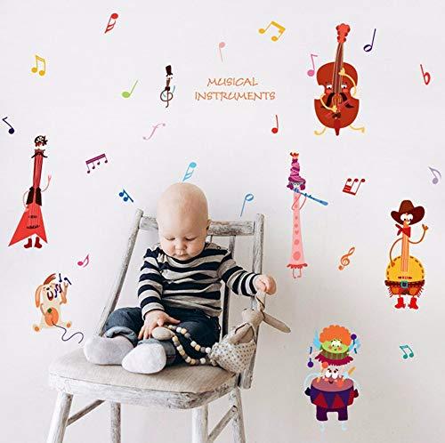Muursticker muziek viool dieren cartoon sticker voor kinderkamer knutselen wanddecoratie afneembaar