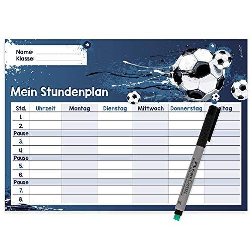 younikat Fußball Stundenplan abwischbar I DIN A4 I Rückseite magnetisch für den Kühlschrank I Jungen Jungs Teenager, cool I mit Stift I dv_485