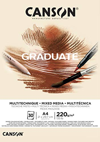 Bloc Encolado A4 30H Canson Graduate Mix Media Fino 220g Ocre
