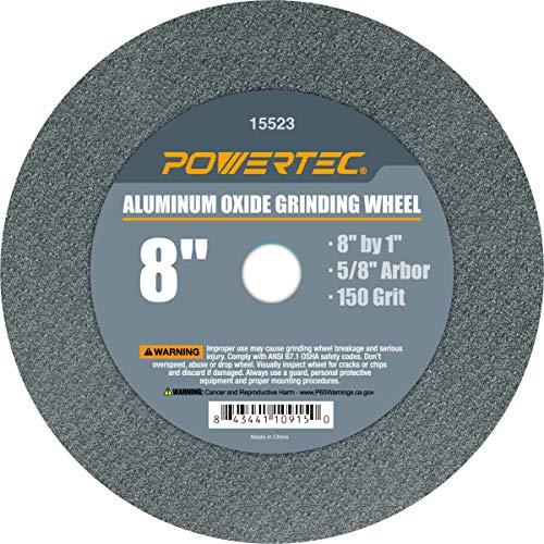 POWERTEC 15523 Rueda de pulido de óxido de aluminio, 8 x 1 pulgadas, eje de 5/8 pulgadas, grano 150 ⭐