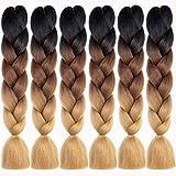 Ombre Braiding Hair Synthetic Kanekalon Hair Extensions Accessories for Women Kids (Jumbo Braiding-6PCS, Gradient Brown)