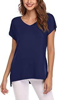 AUPYEO Women's Short Sleeve T Shirt V Neck Loose Tops Casual Tee with Side Split
