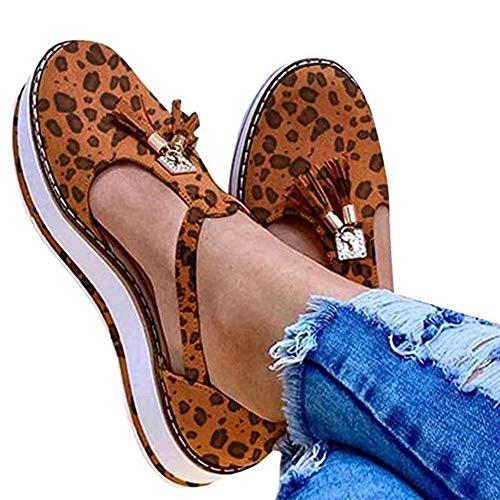 Shoeshf@ Sandalias Planas Cuña para Mujer Verano 2020 Zapatos Piel Chanclas Zapatillas Casual Cómodas Caminar Fiesta De Playa Al Aire Libre,Leopardo,41