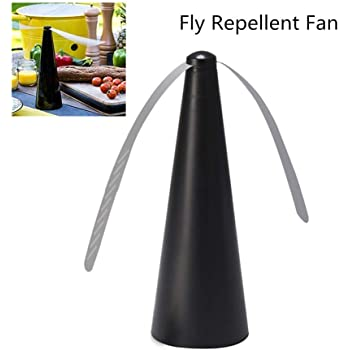 Fly Repellent Fan - Keep Flies and Bugs Away from Your Food Without Using Chemicals | Enjoy Your Outdoor Meal Without Bug Spray or Citronella Candles Small Fly Fan (Black)