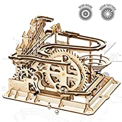 【ROLLER COASTER DESIGN】This Waterwheel Coaster 3D puzzle is like a real roller coaster,after the assembly,the ball can be rolled along the track.These designs are inspired by real-life mechanisms.We believes that building these beautiful working mode...