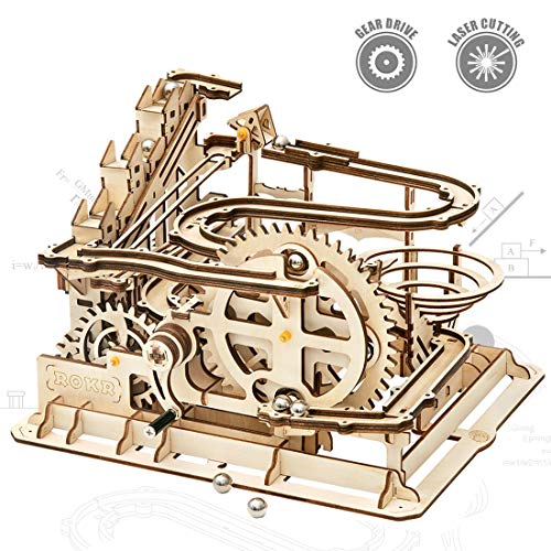 ROKR Mechanical 3D Wooden Puzzle Model Kit Craft Set Educational Toy Building Engineering Set Christmas/Birthday/Thanksgiving Day Gift for Boys Girl Kids Age 14+(LG501-Waterwheel Coaster)