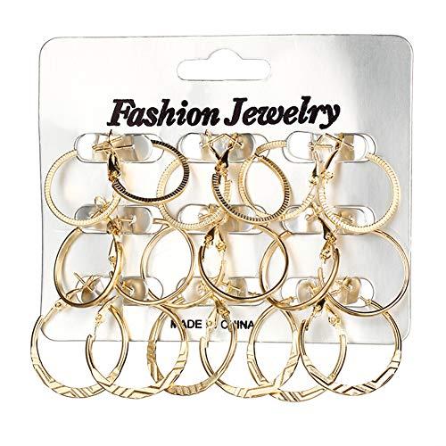Qinlee 9 paar Ohrringe set Rund Kreis Ohrhänger Creole Mode Damen Mädchen Schmuck für Hochzeiten Bankette Festival Party (gold)