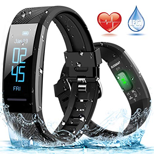 ELEGIANT Fitness Tracker, Orologio Braccialetto Fitness Bluetooth Impermeabile IP67 per iPhone XS XS Max XR x 8 7 6s 6 Plus iPad Samsung Galaxy s9 s9+ S8 S8+ S7 S6 Huawei P 20 10 9 8 HTC LG iOS