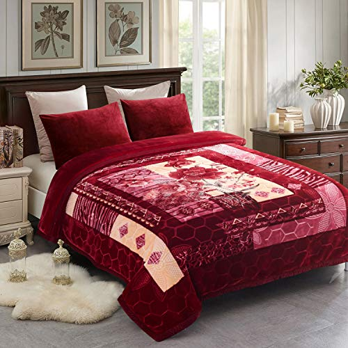 "JML Fleece Blanket, Plush Blanket King Size 85"" x 93"", 10 Pounds Heavy Korean Style Mink Blanket - Silky Soft and Warm, 2 Ply A&B Printed Raschel Bed Blanket, Red Rose"