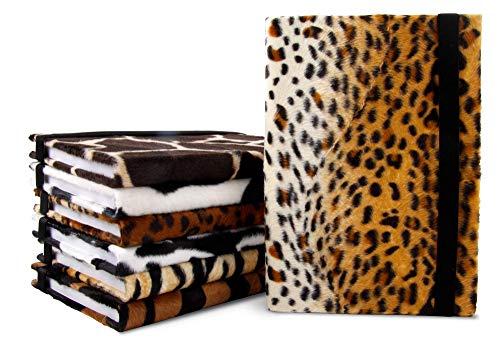 Verschiedene Samt-Farben und Saferi-Motive - BIZBOOX® Notizbuch Spezial Edition DIN A5 kariert - Safari Giraffen Fell Look braun