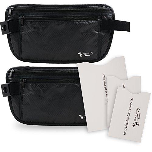 The Friendly Swede Marsupio Portasoldi da Viaggio con Custodie Protettive RFID per Carte di Credito e Passaporto (Set di 2 Marsupi) - GARANZIA A VITA