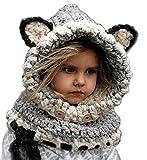 Inverno Caldo Coif Cappuccio Sciarpa Caps Cappello Earflap Fox Scialli di Lana Lavorato a Maglia Cappelli della Protezione per Il Bambino Scherza Ragazzi delle Ragazze (Grigio)