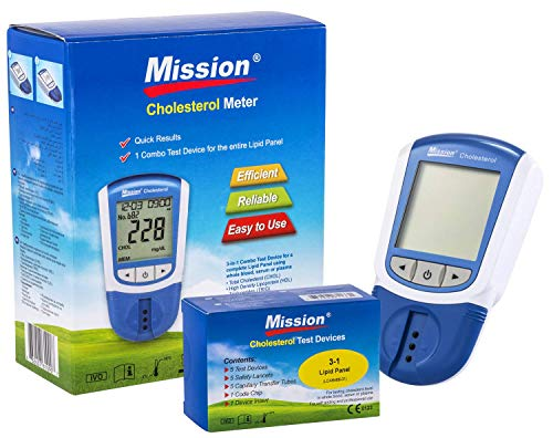 Mission 3in1 - Misuratore di Colesterolo Totale, LDL, HDL e Trigliceridi + 5 Dispositivi di Test