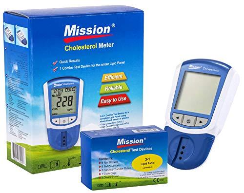 Mission 3 en 1 - Indicateur Cholesterol, LDL, HDL et Triglycérides + 5 Dispositifs de Test