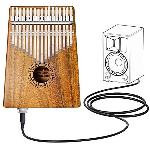 Kalimba Instrument 17 Schlüssel Daumenklavier Koa Wood Body Erz Metall Zinken mit Pickup Jack, Tuning-Werkzeug und Tragetasche von Finether