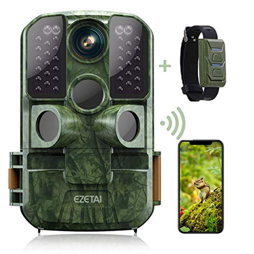 WiFi Trail Camera,EZETAI 24mp Game Cameras 1296P HD Wildlife Hunting Camera with Night Vision Motion Activated Waterproof for Outdoor Wildlife Monitoring,App Download and Sends Picture to Cell Phone