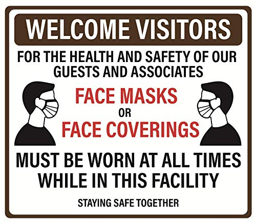 "'Proper Face Protection Must be Worn at All Times' Adhesive Durable Vinyl Decal- 11.5x9.88"" Sign by Graphical Warehouse- Safety and Security Signage, Visual Communication Tool (Brown)"