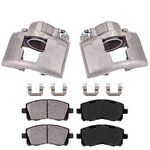 Callahan CCK04655 [2] FRONT OE Remanufactured Brake Calipers + Brake Pads + Clips [fit K3500 Ram 2500 3500 GMC K3500]