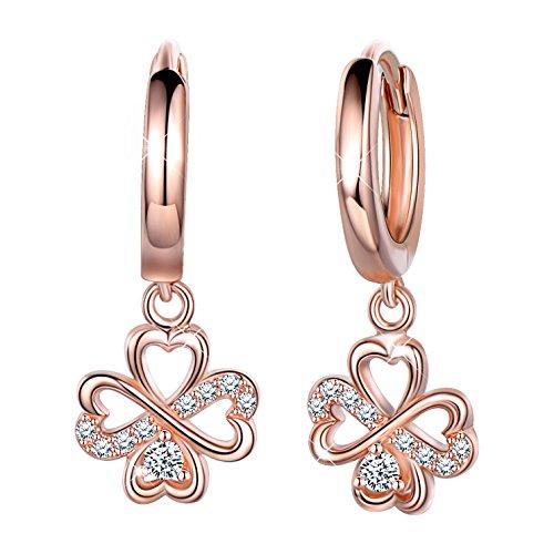 SIXLUO, orecchini a cerchio da donna e ragazza, in argento Sterling 925 con zirconi, ciondolo a forma di quadrifoglio, anallergico.