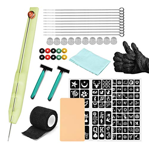 Allsmart Hand Poke and Stick Tattoo Kit, DIY Tattoo Supply Handschuhe, Rasiermesser und Tattoo Nadeln Set, Enthält 3Rl / 5Rl / 7Rl / 9Rl