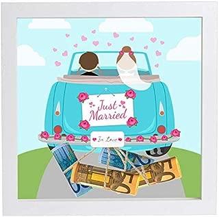 Hochzeitsgeschenk Geldgeschenk Bilderrahmen mit Motiv - Hochzeit Geschenk Kordel, Auto V Just Married