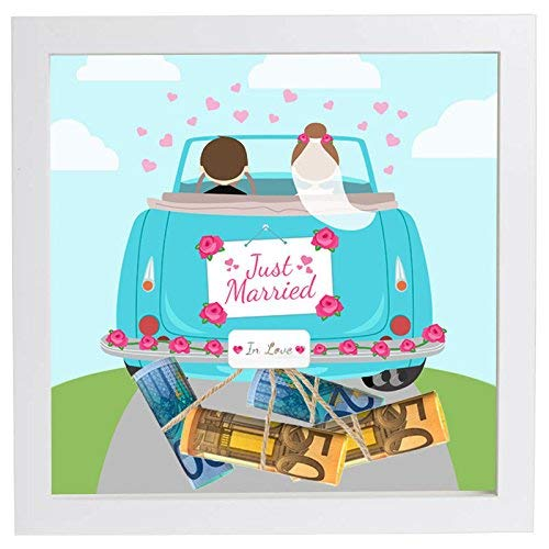 Hochzeitsgeschenk Geldgeschenk Bilderrahmen mit Motiv - Hochzeit Geschenk (Kordel, Auto V Just Married)
