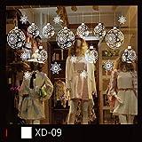 Stickers Noel,Stickers Muraux fenetre Vitres Decoration de Noël Wall Stickers Amovible Decoration de Noël Autocollants Flocon de Neige Bonhomme de Neige Size:About A:45 * 33 * 55cm pas cher (Blanc I)