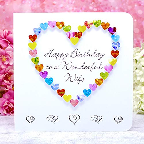 Happy Birthday to a Wonderful Wife Card, Handmade 3D Multi Coloured Special Luxury Love Heart