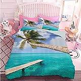 Hiiiman juego de cama de edredón 3 piezas palmeras tropical playa y océano claro cuadro de referencia (3 piezas, California King Size) sin inserto