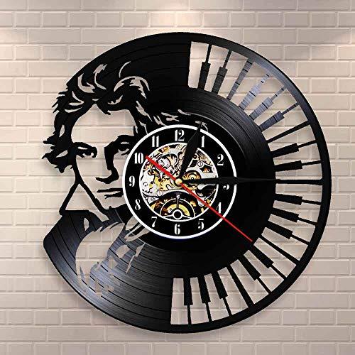 BFMBCHDJ Beethoven Portrait Wandkunst Klavier Tastatur Wanduhr Vintage Vinyl Schallplatte Wanduhr Symphonie Klassische Musik Liebhaber Geschenk