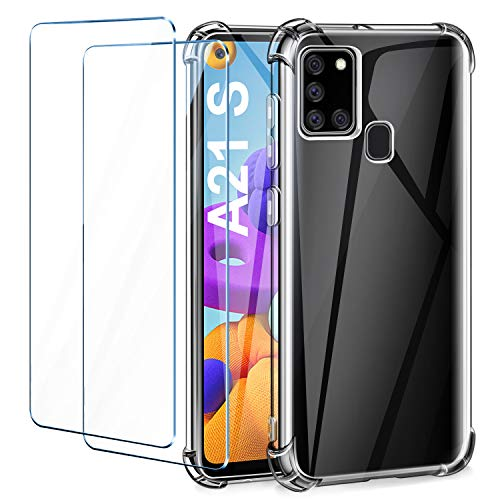 Leathlux Funda Compatible con Samsung Galaxy A21s, 2 Pack Cristal Templado Protector de Pantalla, Ultra Fina Silicona Transparente TPU Funda y Protector Compatible con Samsung Galaxy A21s