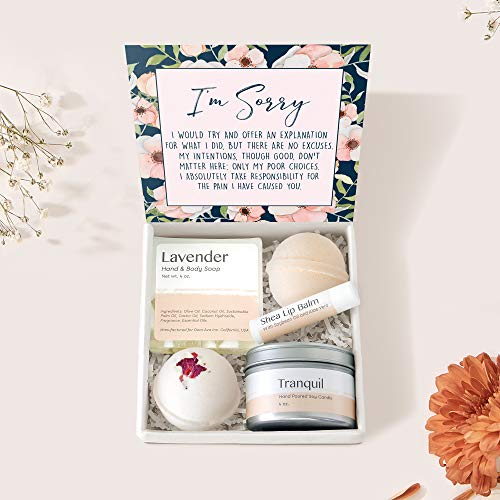 Apology Spa Gift Box Set - Gift to Say You're Sorry to Best Friend, Girlfriend and Loved Ones, Presents, Heartfelt Card & Spa Gift Set to Say You're Sorry